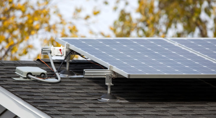 Solar panels on a residential home up close.